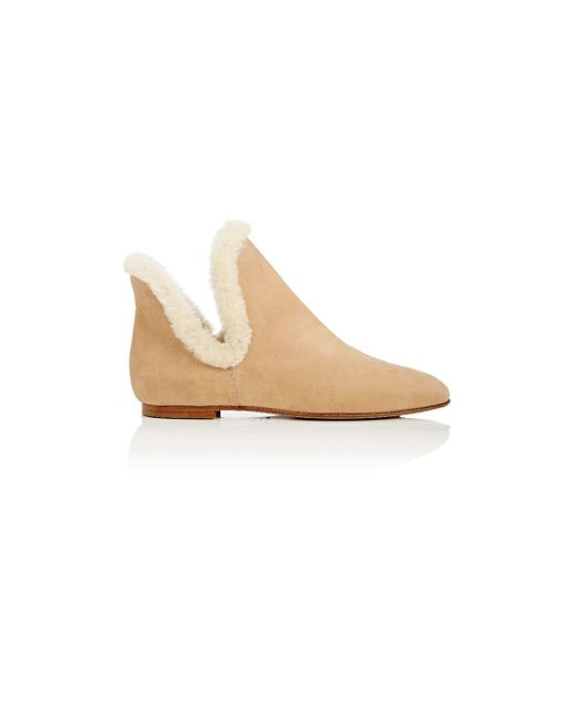 The Row - Natural Shearling-trimmed Nubuck Ankle Boots - Lyst