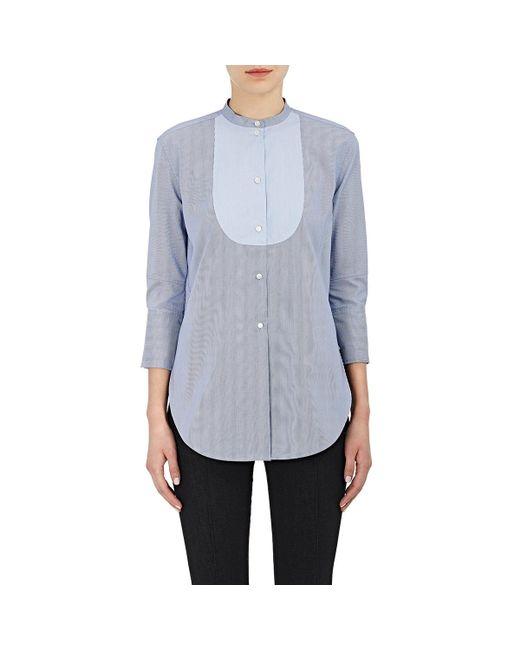 Helmut Lang | Blue Striped Cotton Poplin Tuxedo Shirt | Lyst