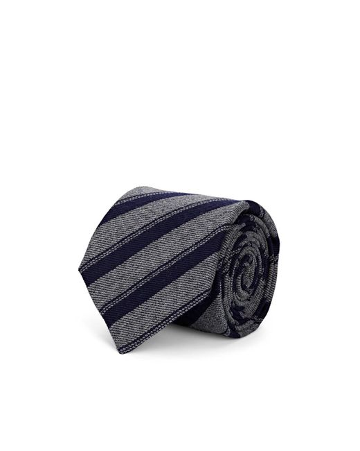 Bigi Gray Striped Wool Necktie for men
