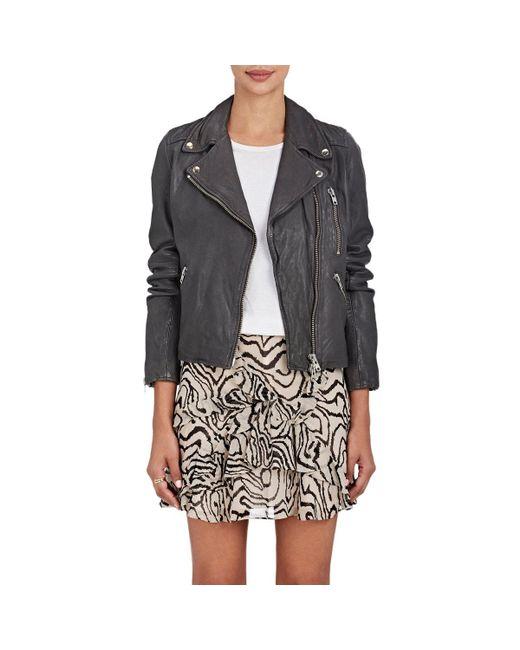 Barneys New York - Gray Leather Moto Jacket - Lyst
