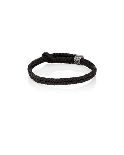 Bottega Veneta | Brown Sterling Silver & Intrecciato Leather Bracelet | Lyst