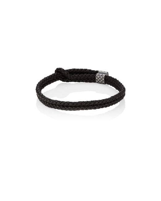 Bottega Veneta - Brown Sterling Silver & Intrecciato Leather Bracelet for Men - Lyst