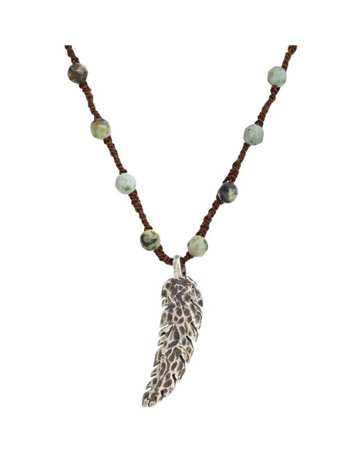 Feathered Soul - Metallic Feather Pendant On Turquoise Bead & Silk Cord for Men - Lyst