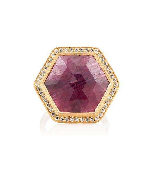 Malcolm Betts | Purple Hexagonal Ruby & White Diamond Ring | Lyst