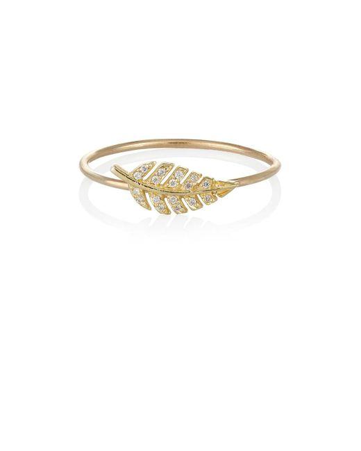 Jennifer Meyer | Metallic Diamond & Gold Leaf Ring | Lyst