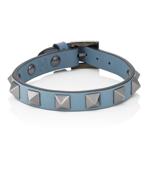 Valentino - Blue Rockstud Bracelet for Men - Lyst