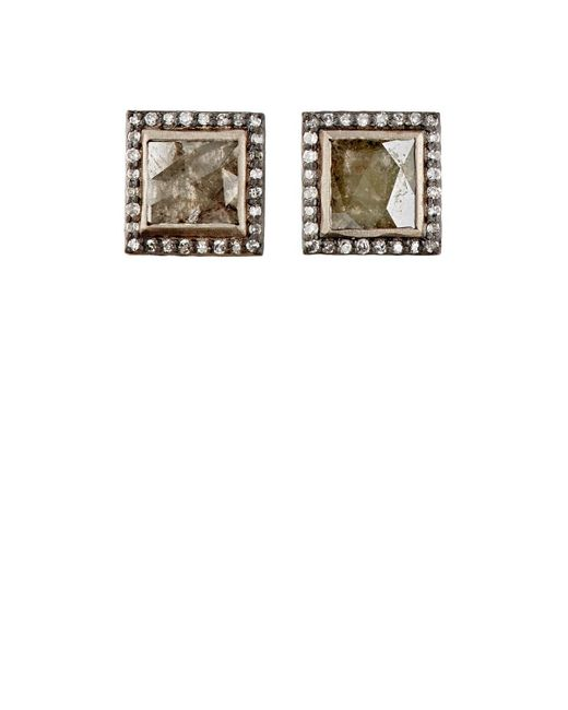 Nak Armstrong - Yellow Diamond Square Stud Earrings - Lyst