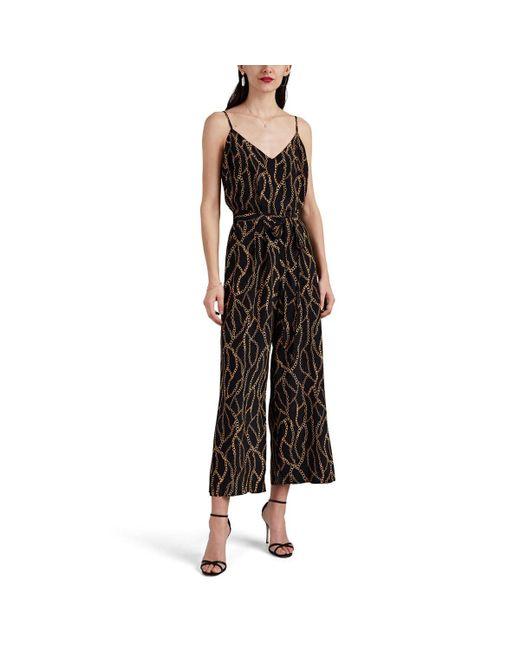 e07681eaba9 L Agence - Black Jaelyn Chain-print Silk Jumpsuit - Lyst ...