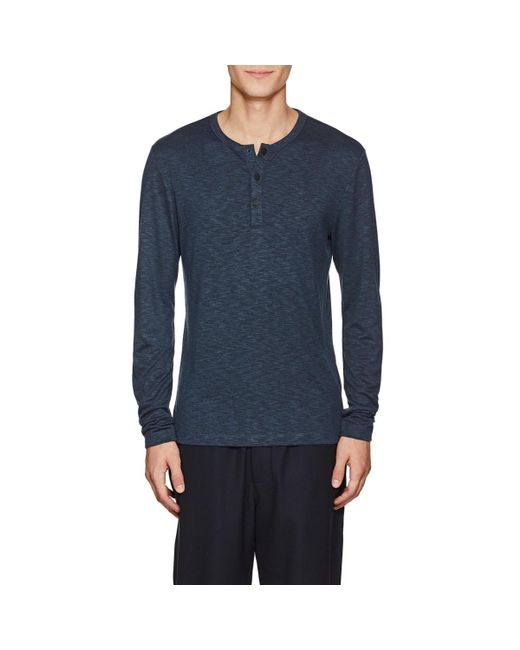 Theory - Blue Mélange Jersey Henley for Men - Lyst