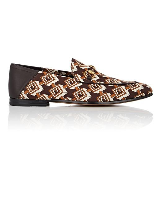 1ea44d9e131 ... Gucci - Brown Isometric Logo-print Satin Loafers for Men - Lyst