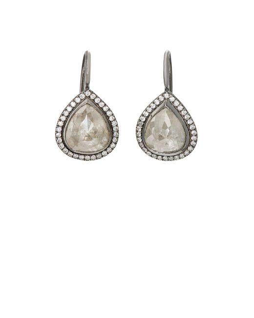 Zoe   Metallic Opaque Grey Diamond Earrings   Lyst