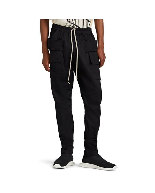 Rick Owens Drkshdw Black Cotton Rip-stop Cargo Pants for men