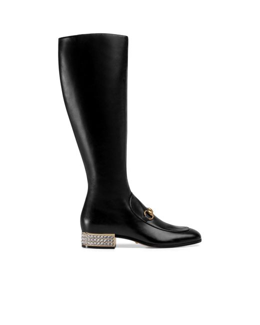 Gucci Black Horsebit Leather Knee Boot With Crystals