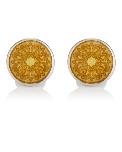 Barneys New York - Yellow Floral Cufflinks for Men - Lyst