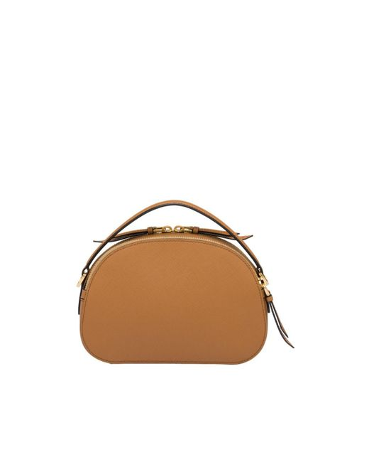 ca72e8c6ef51 ... Prada - Brown Odette Saffiano Leather Shoulder Bag - Lyst ...