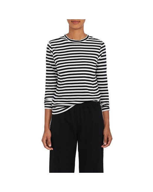 Barneys New York | Black Striped Tissue-weight Cotton T | Lyst