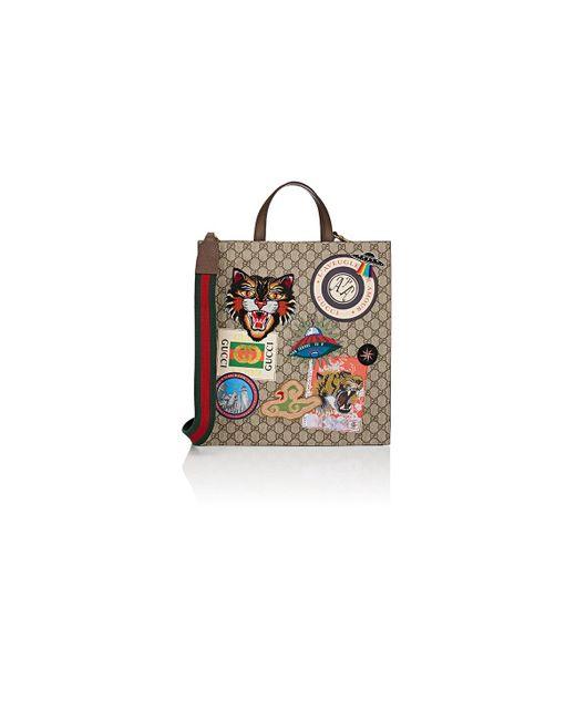 3f757ea2012 Gucci - Natural Appliquéd GG Supreme Shopper Tote Bag for Men - Lyst ...