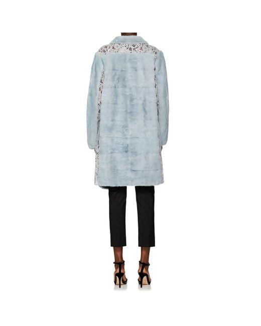1328f3cec6 ... Valentino - Blue Lace-inset Mink Fur Coat - Lyst ...