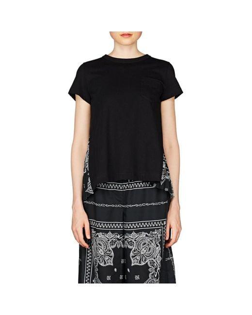 95b47c23bde ... Sacai - Black Bandana-print Cotton Swing T-shirt - Lyst
