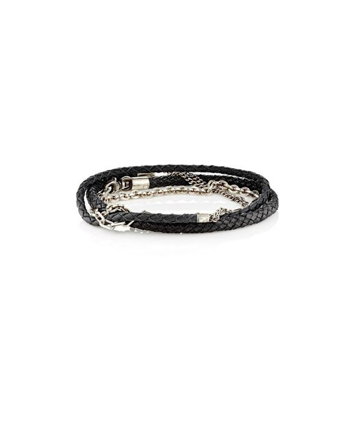 Title Of Work - Black Mixed-chain & Leather Wrap Bracelet for Men - Lyst