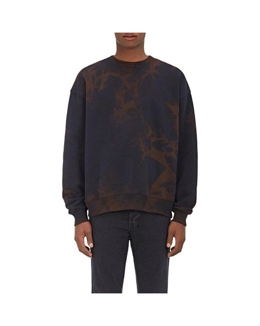 Acne | Blue Yana Bleached Cotton Fleece Sweatshirt for Men | Lyst