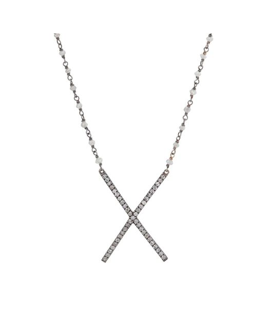 Eva Fehren - Metallic X Necklace - Lyst