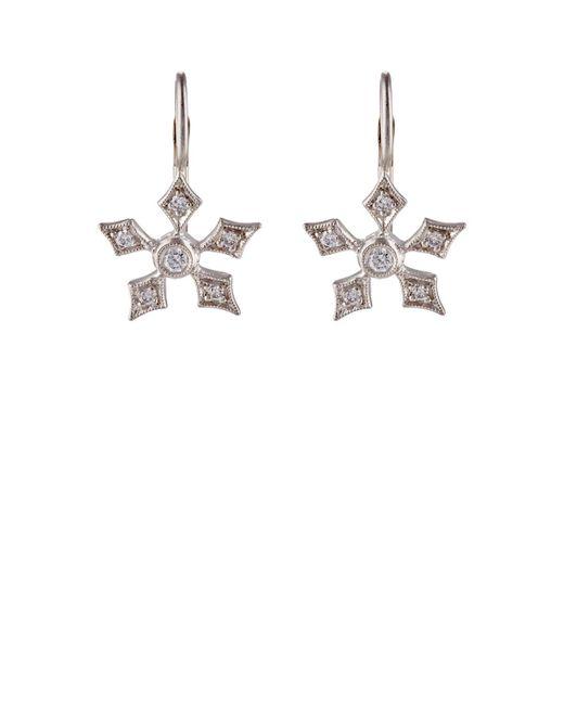 Cathy Waterman | White Snowflake Drop Earrings | Lyst