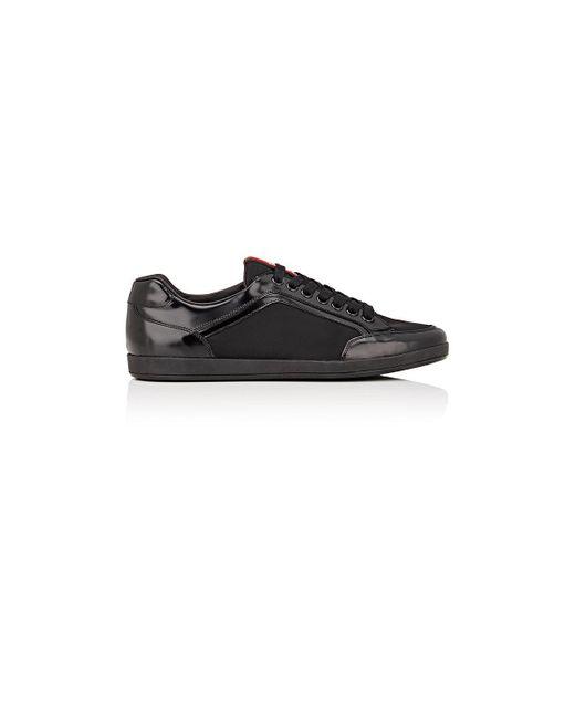 Prada | Black Leather Sneakers for Men | Lyst