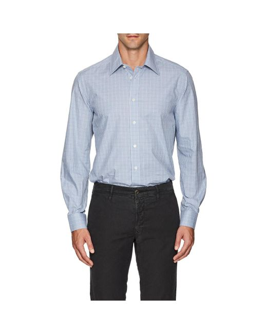 Luciano Barbera - Blue Checked Cotton Poplin Shirt for Men - Lyst