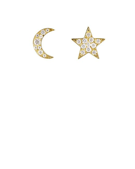 Finn | White Star & Moon Stud Earring Set | Lyst