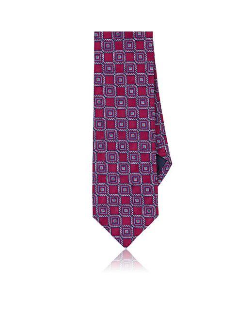 Paolo Albizzati - Purple Square-pattern Silk Faille Necktie for Men - Lyst