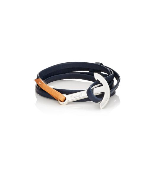 Miansai | Blue Modern Anchor On Leather Wrap Bracelet for Men | Lyst
