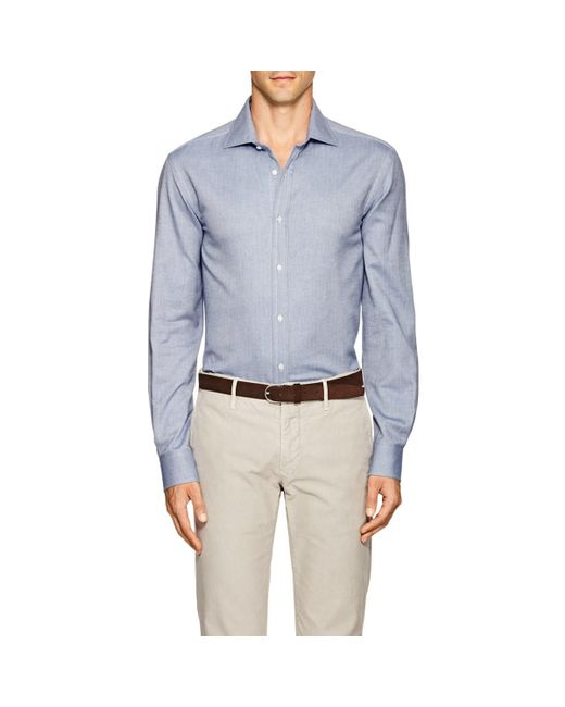 Ralph Lauren Purple Label - Blue Aston Herringbone Cotton Shirt for Men - Lyst