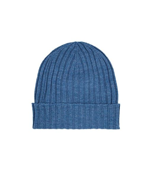Barneys New York | Blue Ribbed Merino Wool Beanie for Men | Lyst