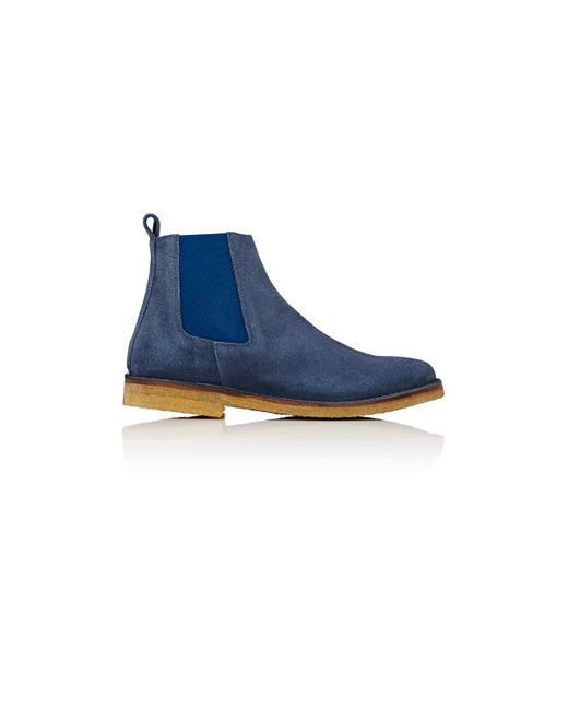 Barneys New York Crepe Sole Chelsea Boots In Blue For Men