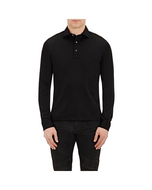 Ralph lauren black label long sleeve polo shirt in black for Ralph lauren black label polo shirt