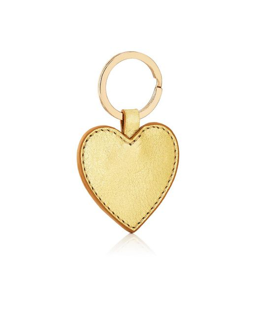 Barneys New York - Metallic Leather Heart Key Chain - Lyst
