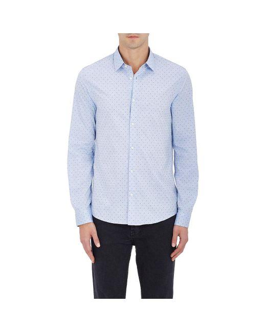 Michael Kors - Blue Swiss Dot Cotton Button-front Shirt for Men - Lyst