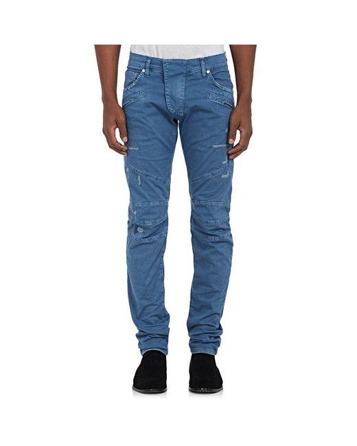 Balmain | Blue Distressed Biker Jeans for Men | Lyst