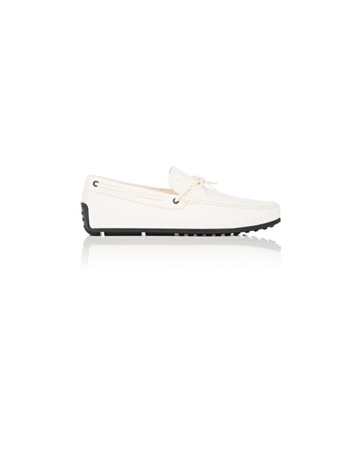 Tod's | White Pebbled Leather Tie Drivers | Lyst