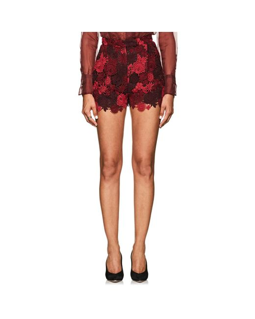Valentino - Red Floral Guipure Lace Shorts - Lyst