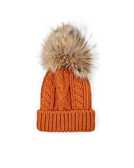 Crown Cap - Orange Fur Pom-pom Cable-knit Beanie for Men - Lyst