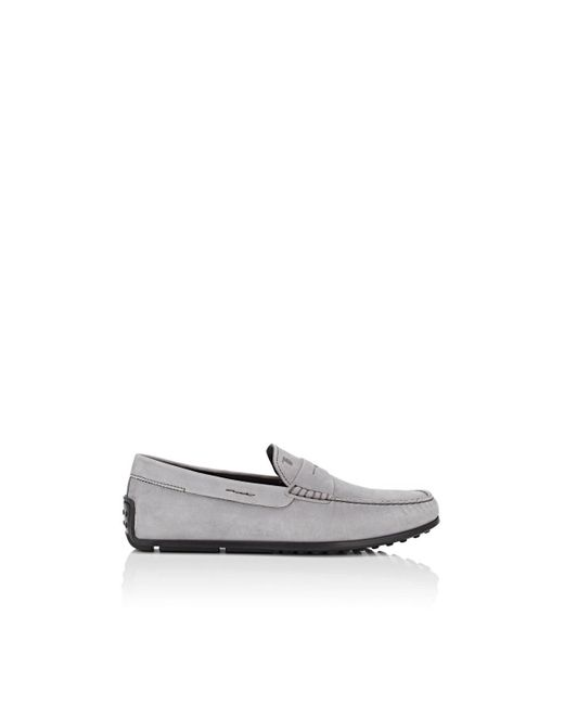 Tod's - Gray Nubuck Penny Drivers for Men - Lyst