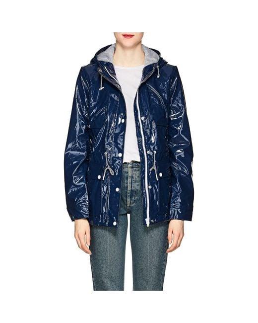 Barneys New York - Blue Shiny Hooded Raincoat - Lyst