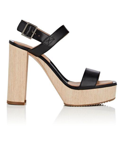 Calvin Klein - Black Fauna Bis Leather Platform Sandals - Lyst