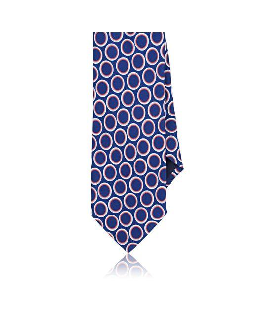 Barneys New York Blue Oval-print Silk Satin Necktie for men
