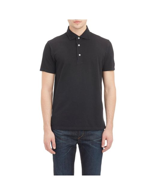 Barneys New York - Black Piqué Polo Shirt for Men - Lyst