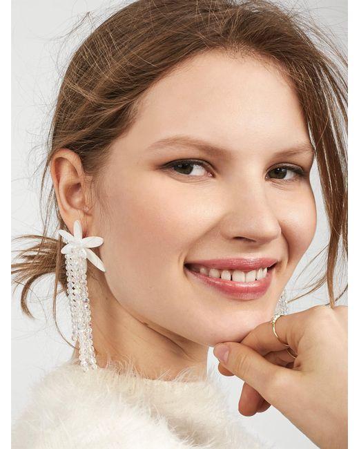 BaubleBar   White Lily Drop Earrings   Lyst