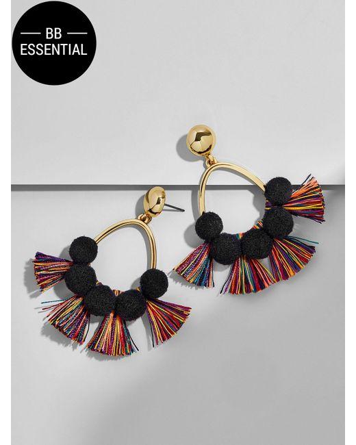 BaubleBar | Multicolor Melina Pom Pom Earrings-black/rainbow | Lyst