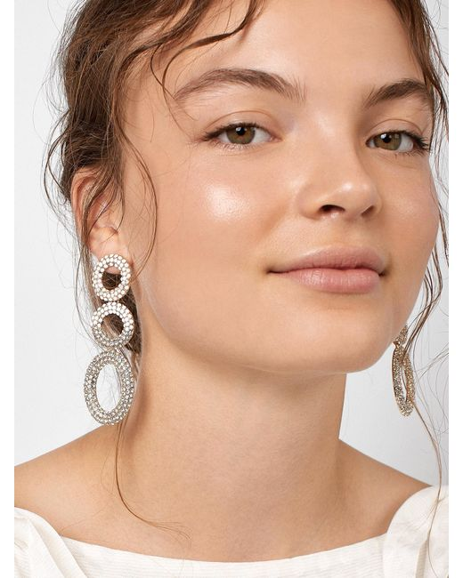 BaubleBar - White Mimi Hoop Earrings - Lyst